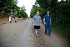 Dr. Mike Conn and Dr. Chris Englert on the street in Milot, Haiti. <br /> Photos from Hopital Sacré Coeur, the CRUDEM foundation, and Holy Name Medical Center's involvement in Milot, Haiti.  Photo by Jeff Rhode / Holy Name Medical Center 10/21/13