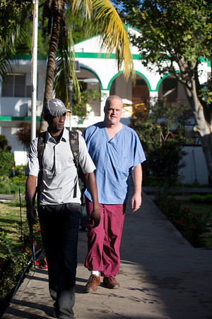 Tom Wall at Hopital Sacre Coeur in Milot, Haiti. <br /> Photos from Hopital Sacré Coeur, the CRUDEM foundation, and Holy Name Medical Center's involvement in Milot, Haiti.  Photo by Jeff Rhode / Holy Name Medical Center 10/23/13