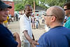 Dr. Previl, CEO of Hopital Sacré Coeur in Milot, Haiti greets Dr Adam Jarrett, SMO of Holy Name Medical Center in Teaneck, NJ.<br /> Photos from Hopital Sacré Coeur, the CRUDEM foundation, and Holy Name Medical Center's involvement in Milot, Haiti.  Photo by Jeff Rhode / Holy Name Medical Center 10/30/12