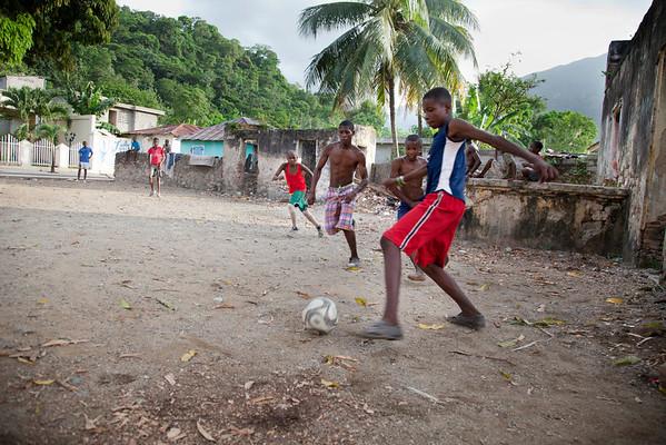 Children play soccer on the street in Milot, Haiti. Photos from Hopital Sacré Coeur, the CRUDEM foundation, and Holy Name Medical Center's involvement in Milot, Haiti.  Photo by Jeff Rhode / Holy Name Medical Center 6/13/12