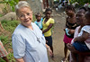 Sr. Anne Crawley walking in the mountains in Milot, Haiti. Sr. Anne visits families in need and often bring supplies or food for the families that may not have eaten in days. <br /> Photos from Hopital Sacré Coeur, the CRUDEM foundation, and Holy Name Medical Center's involvement in Milot, Haiti.  Photo by Jeff Rhode / Holy Name Medical Center 10/24/13