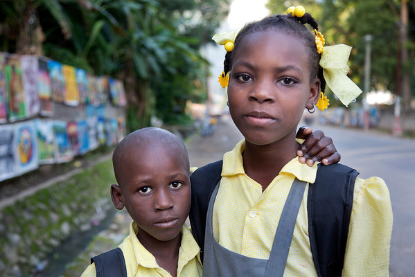Siblings walking to school in Milot, Haiti.Photos from Hopital Sacré Coeur, the CRUDEM foundation, and Holy Name Medical Center's involvement in Milot, Haiti.  Photo by Jeff Rhode / Holy Name Medical Center 10/24/13