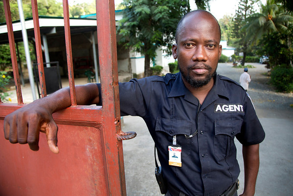 A security guard at the Crudem campus in Milot, Haiti. <br /> Photos from Hopital Sacré Coeur, the CRUDEM foundation, and Holy Name Medical Center's involvement in Milot, Haiti.  Photo by Jeff Rhode / Holy Name Medical Center 10/26/13