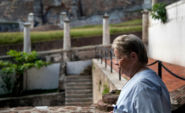Sr. Anne Crawley walking past the Sans Souci Palace in Milot, Haiti.  Photos from Hopital Sacré Coeur, the CRUDEM foundation, and Holy Name Medical Center's involvement in Milot, Haiti.  Photo by Jeff Rhode / Holy Name Medical Center 10/24/13
