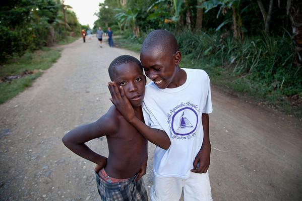 Boy play around on the street in Milot, Haiti. <br /> Photos from Hopital Sacré Coeur, the CRUDEM foundation, and Holy Name Medical Center's involvement in Milot, Haiti.  Photo by Jeff Rhode / Holy Name Medical Center 10/21/13