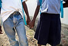Siblings walking to school on the street in Milot, Haiti. It is common to see groups of kids walking along holding hands. <br /> Photos from Hopital Sacré Coeur, the CRUDEM foundation, and Holy Name Medical Center's involvement in Milot, Haiti.  Photo by Jeff Rhode / Holy Name Medical Center 10/30/12