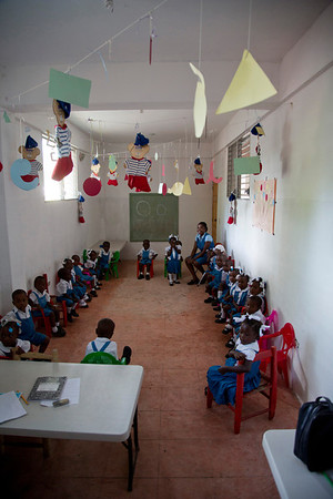 A kindergarten classroom at a school in Milot, Haiti. Photos from Hopital Sacré Coeur, the CRUDEM foundation, and Holy Name Medical Center's involvement in Milot, Haiti.  Photo by Jeff Rhode / Holy Name Medical Center 10/22/13