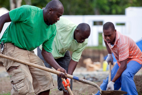 Construction workers dig to bury conduit at Hopital Sacre Coeur in Milot, Haiti.  Photo by Jeff Rhode / Holy Name Medical Center 10/21/13