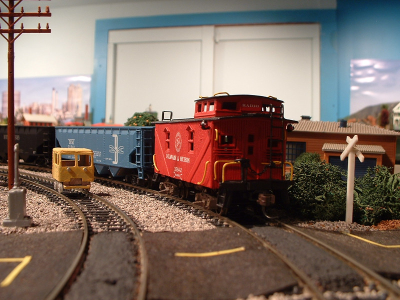 Speeder: Rutland Section Crew Passes a D&H Coal Train