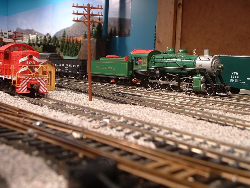 Steam Train Passes Switcher #403