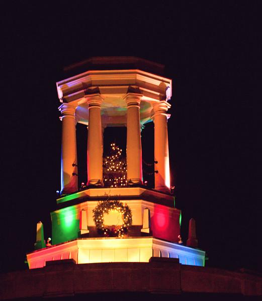 Bath City Hall, The Davenport Building, Bath, Maine lit with Christmas lights