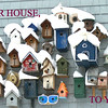 Great Christmas card! Birdhouse collection after snowfall with text