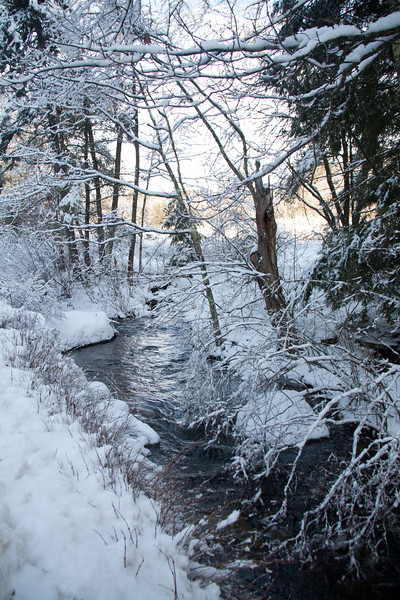 creek after the snow storm, Phippsburg, Maine January, 2013, winter scene, Sam Day Hill Road