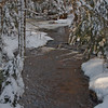 creek in snow fall, after the storm, Phippsburg, Maine January 2013, winter scene