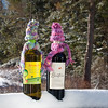 Wine bottle cozies, scarf and hat, winter scene, hostess gift