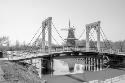 BRIDGE AND WINDMILL B&W