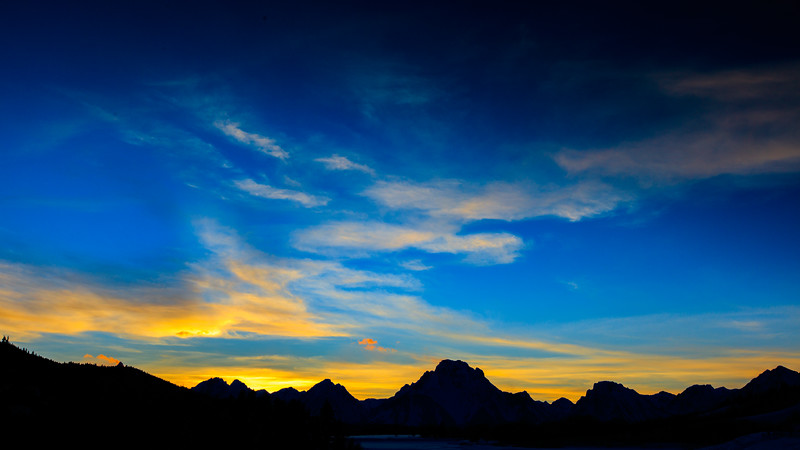 Sunset behind Mt Moran from Oxbow Bend on Snake RIver