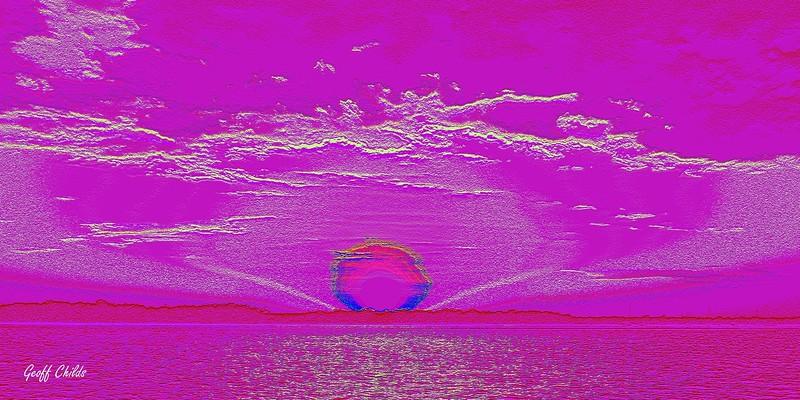 Moonrise 6. Pink / Magenta.  Emboss Art photo digital download and wallpaper screensaver. DIY Designer Print.