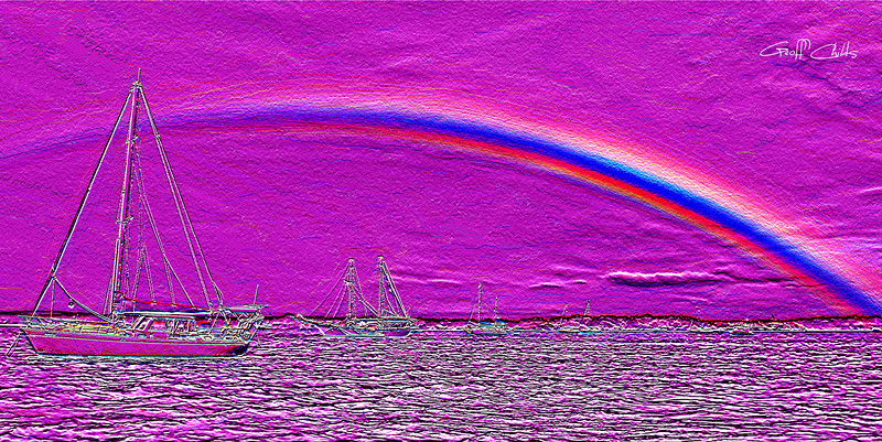 Rainbow Heaven 3.Magenta.   Emboss Art photo digital download and wallpaper screensaver. DIY Designer Print.