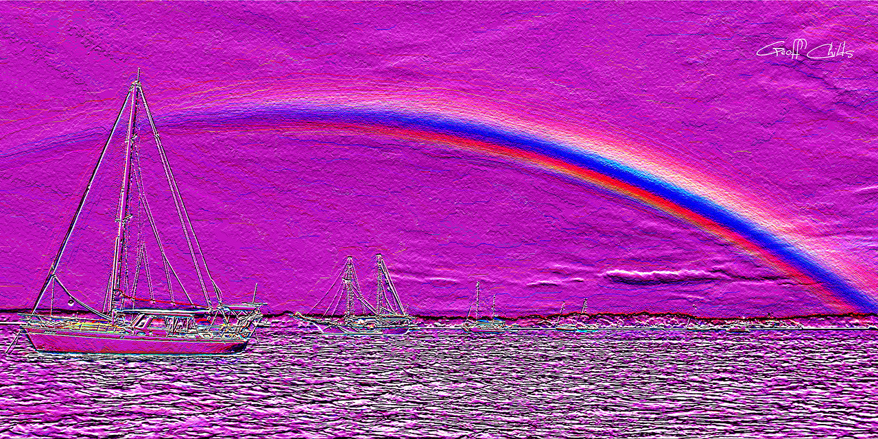 Rainbow Heaven 3.Magenta.   Emboss Art photo digital download and wallpaper screensaver. DIY Designer Print.