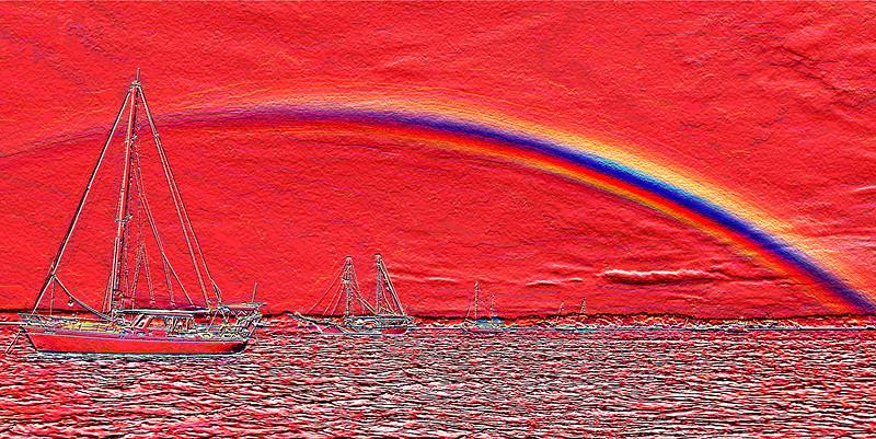 Rainbow Heaven1. Red.  Emboss Art photo digital download and wallpaper screensaver. DIY Designer Print.