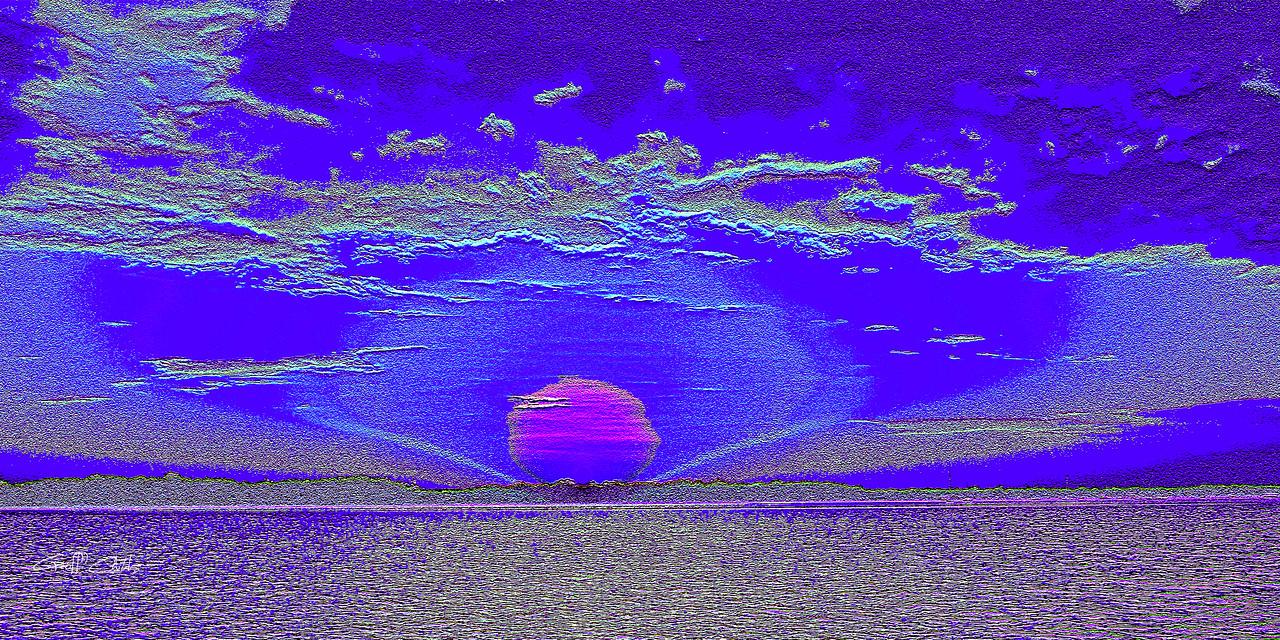 Moonrise1  Blue/White.   Emboss Art photo digital download and wallpaper screensaver. DIY Designer Print.