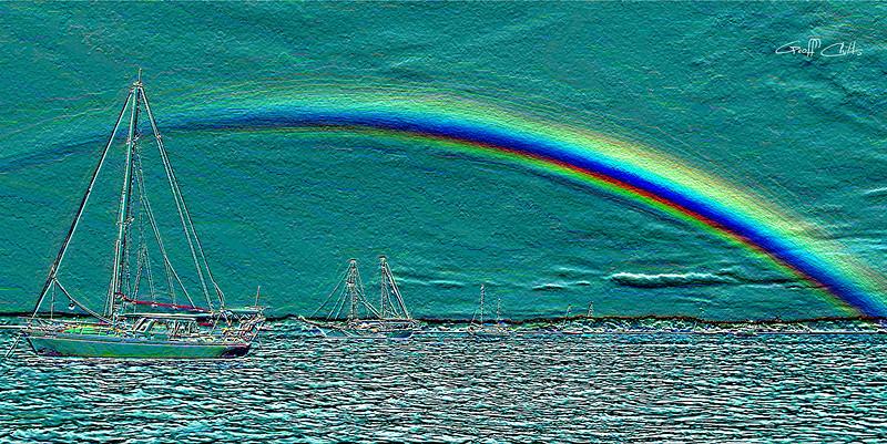 Rainbow Heaven 4.Green.  Emboss Art photo digital download and wallpaper screensaver. DIY Designer Print.