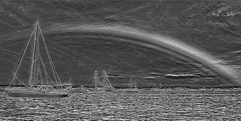Rainbow Heaven 5. Black and White.   Emboss Art photo digital download and wallpaper screensaver. DIY Designer Print.