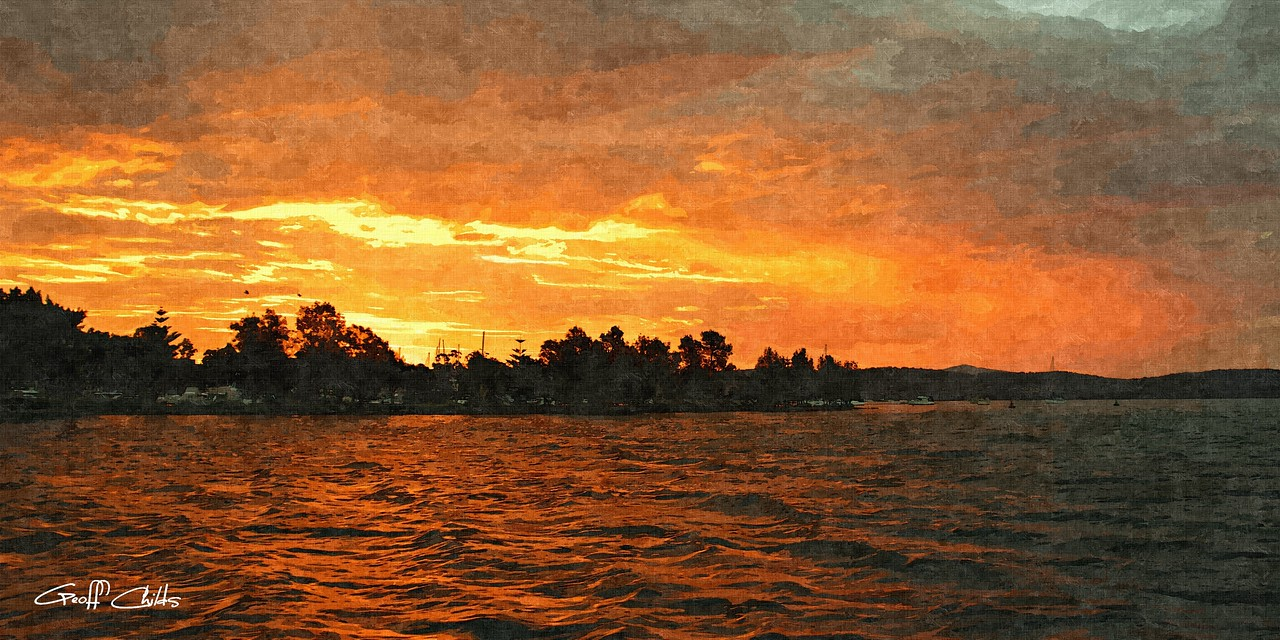 Trees and Sea -  Art Oil Painting, photo digital download and wallpaper screensaver. DIY Print