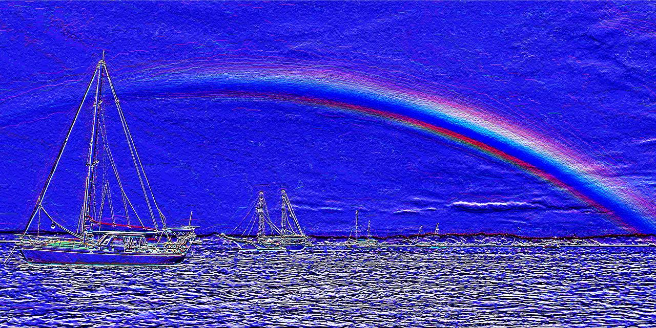 Rainbow Heaven2.Blue.  Emboss Art photo digital download and wallpaper screensaver. DIY Designer Print.