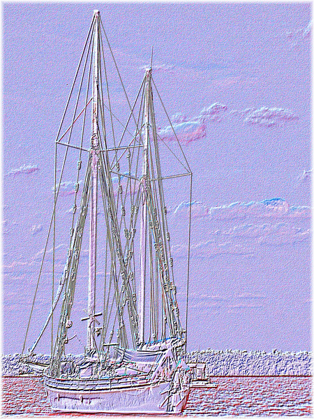 Tallship Cloudscape. Delicate white and lilac abstract embossed image.