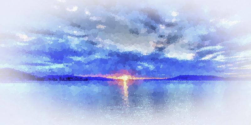 Blue Ocean. Colourful abstract modern art sunset seascape.