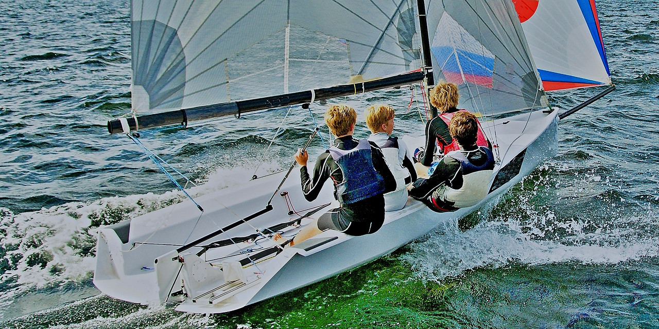 High School Children Sailing Racing.