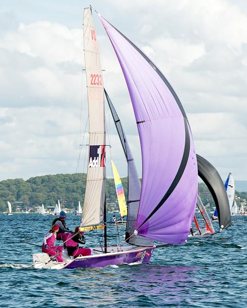 Children sailing racing dinghies at championships. April 17, 2013: Editorial