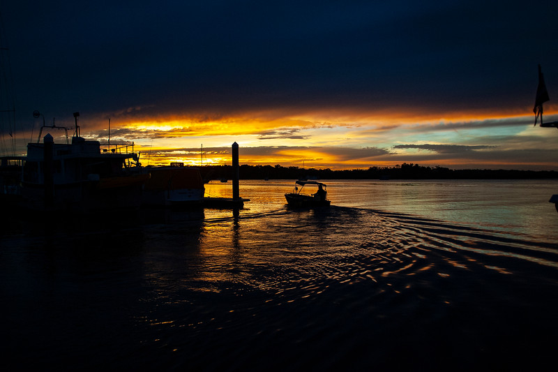 Vibrant Golden colored dramatic cloudy Marina Sunset