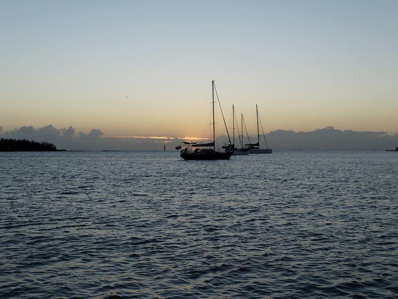 Sunrise Seascape with yachts at anchor. Australia
