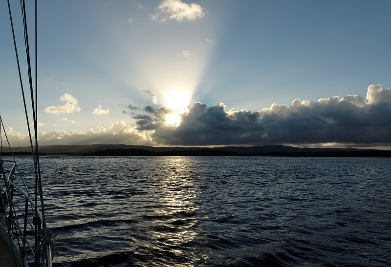 Stratocumulus cloudy Sunrise Seascape with sun rays.