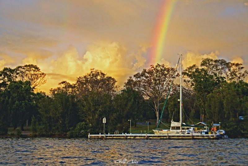 Dawn Rainbow at Jetty .
