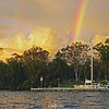 Dawn Rainbow at Jetty . Original exclusive photo art.