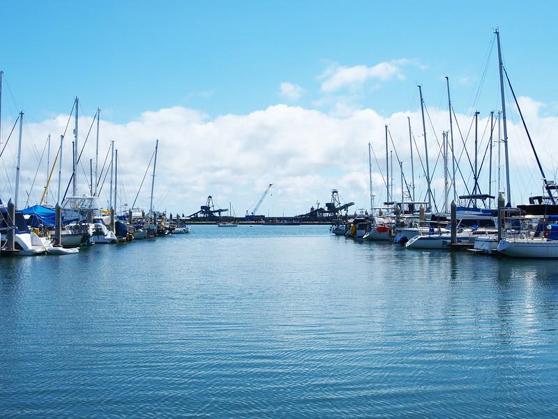 Watercraft at a Tropical Marina. Nautical scenery.