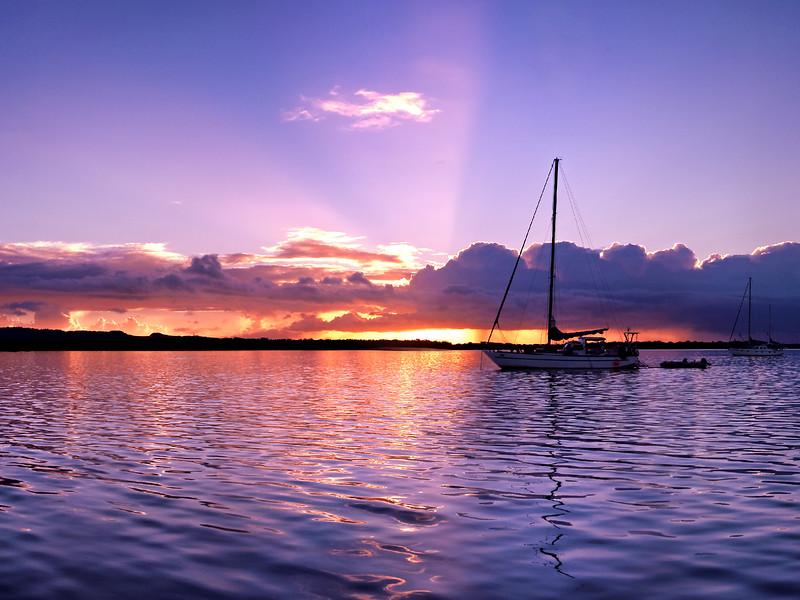 Lavender colourd cloudy Sunset Seascape. Australia