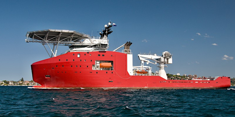 A 106 meter Transport Ship with helipad at Sydney navy centenary celebrations port side view. Australia.