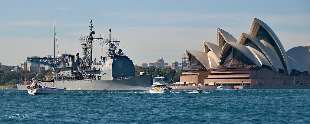 Sydney Opera House and USS Chosin.