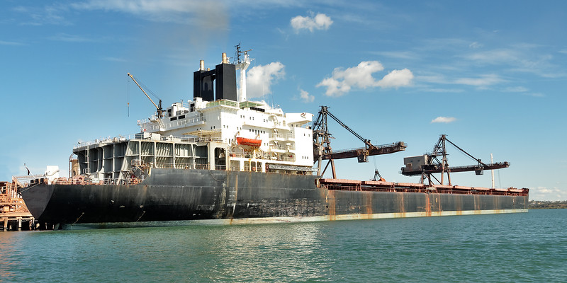 Cargo ship at the loading terminal, Gladstone Harbour, Queensland.