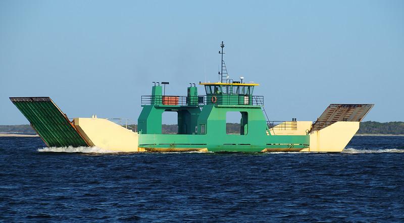 Fraser island Car Ferry Barge in transit. Inskip Point, Australia