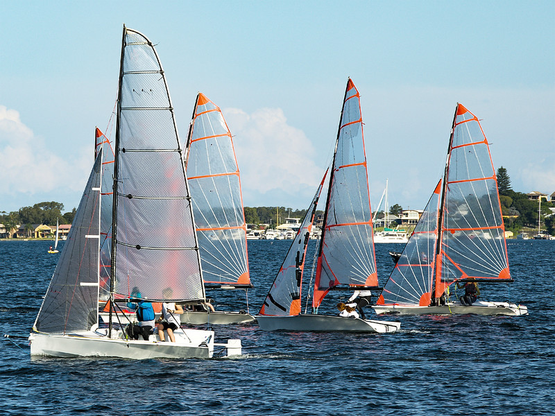 Children Sailing, class racing in 29er dinghies in a high school