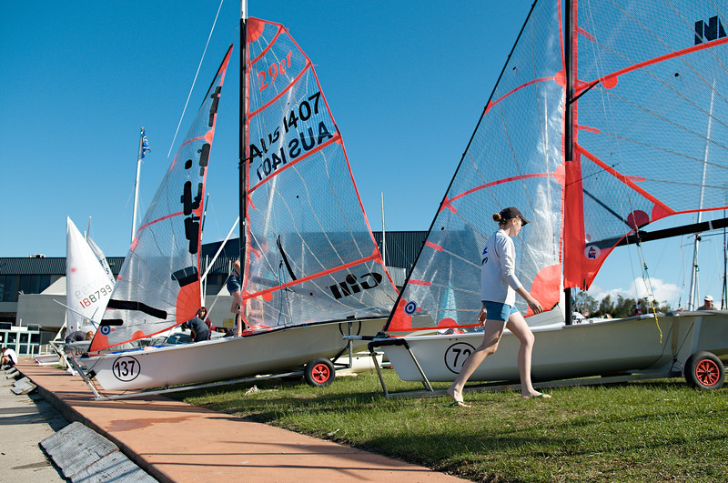 Children preparing racing dinghies at championships. April 18, 2013: Editorial