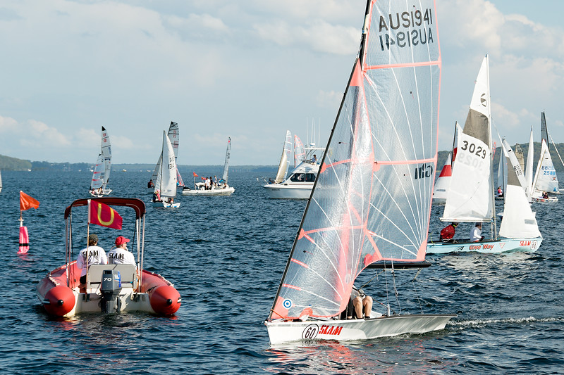 Children sailing racing dinghies at championships. April 18, 2013: Editorial