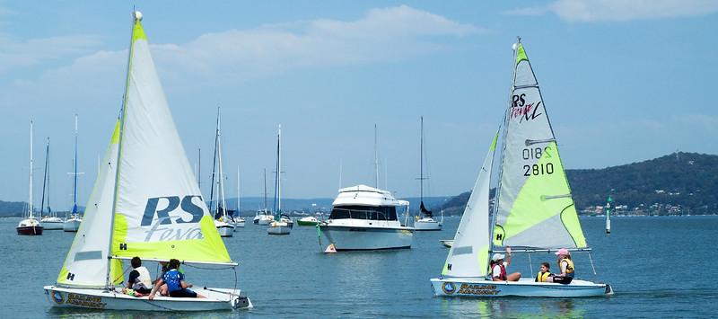 Gosford, Australia - January 1, 2014: Children sailing. Editorial.
