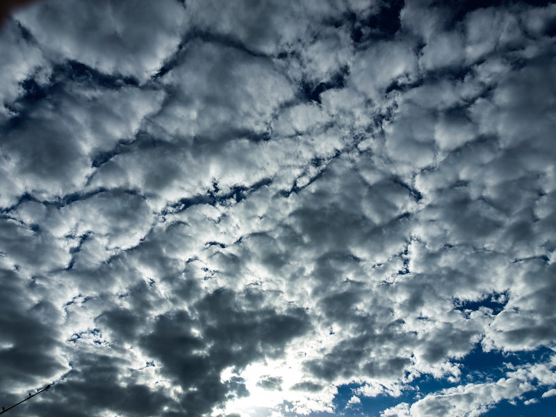 Typical Altocumulus cloud formationin blue sky.